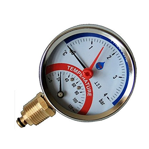 "80mm 10 BAR Side Entry 120C Temperature Pressure Gauge 1/2"" BSP Thermomanometer from A.I.M."