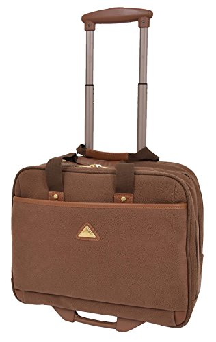 Pilot Case Wheeled Briefcase Camel Faux Suede Business Travel Cabin Bag Hand Luggage - Stargazer from A1 FASHION GOODS