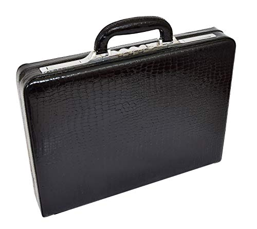 26b4033695 Slimline Black Leather Attache Case Croc Print Briefcase Dual Lock Office  Bag - Mark from A1