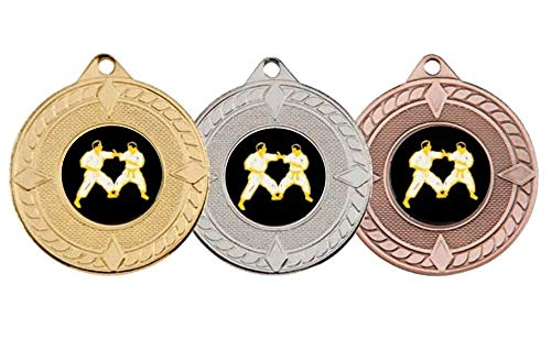 SPECIAL OFFER 10 x 50mm Karate Medals with Ribbons from A1 PERSONALISED GIFTS