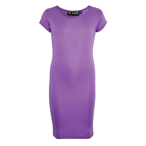 A2Z 4 Kids® Gilrs Midi Dress Kids Plain Color Bodycon Summer Fashion Dresses New Age 5 6 7 8 9 10 11 12 13 Years Lilac from A2Z 4 Kids