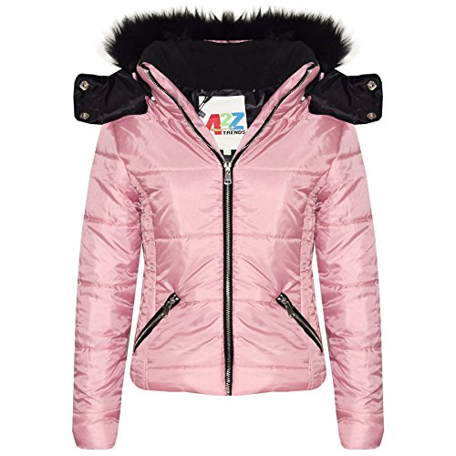 A2Z 4 Kids Girls Jacket Kids Stylish Cropped Padded Puffer Bubble Fur Collar - 414 - Baby Pink - 3-4 Years from A2Z 4 Kids