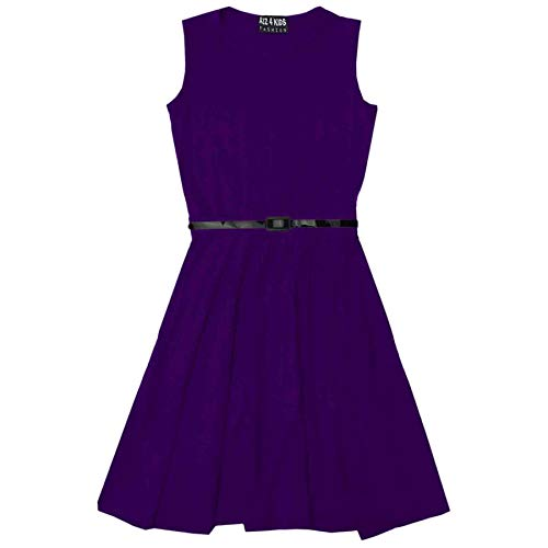 A2Z 4 Kids Girls Skater Dress with Free Belt,  Purple, 9-10 Years from A2Z 4 Kids