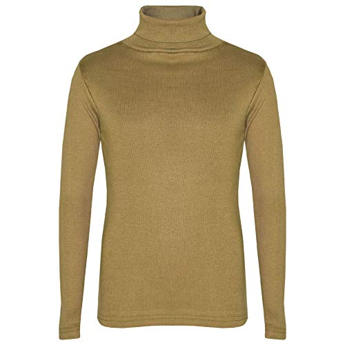 A2Z 4 Kids Girls T Shirt Top Thick Cotton Turtleneck Long Sleeves - Polo Neck 002 Khaki 4-5 from A2Z 4 Kids