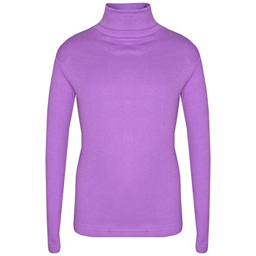 A2Z 4 Kids Girls T Shirt Top Thick Cotton Turtleneck Long Sleeves - Polo Neck 002 Lilac 9-10 from A2Z 4 Kids