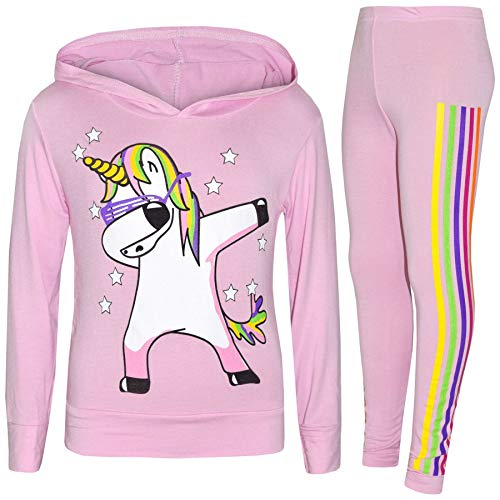 A2Z 4 Kids Girls Trendy Fashion Dabbing Floss Top & Legging - Unicorn Hooded Set 225 Baby Pink_11-12 from A2Z 4 Kids