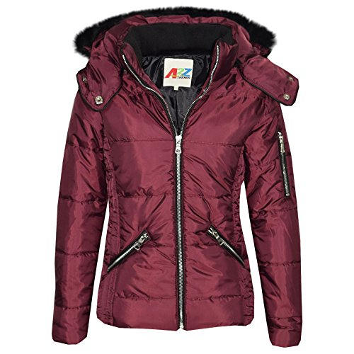 A2Z 4 Kids Girls Jacket Kids Stylish Cropped Padded Puffer Bubble Fur Collar - 414 - Wine - 9-10 Years from A2Z 4 Kids