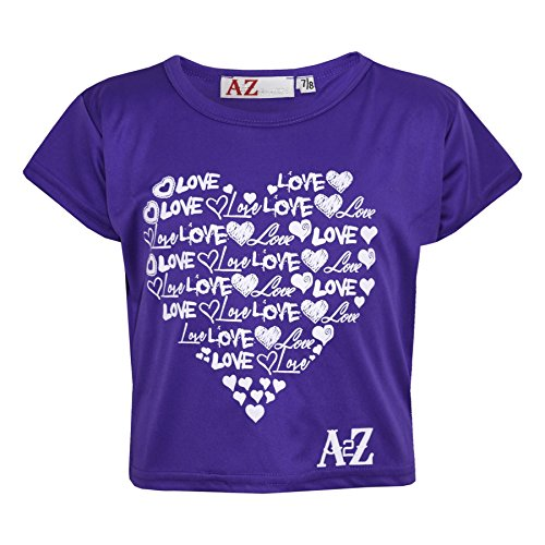 A2Z 4 Kids� Girls Top Kids Love Print Stylish Fahsion Trendy T Shirt Crop Top New Age 5 6 7 8 9 10 11 12 13 Years Purple from A2Z 4 Kids