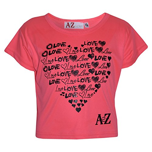A2Z 4 Kids� Girls Top Kids Love Print Stylish Fahsion Trendy T Shirt Crop Top New Age 5 6 7 8 9 10 11 12 13 Years Neon Pink from A2Z 4 Kids