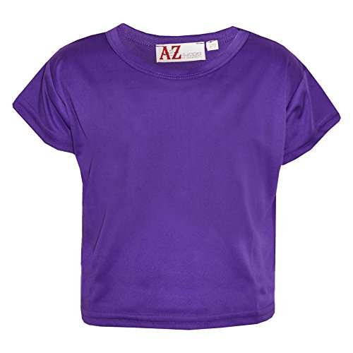 A2Z 4 Kids Girls Top Kids Plain Color Stylish Fahsion Trendy T Shirt Crop Top New Age 7 8 9 10 11 12 13 Years Purple from A2Z 4 Kids
