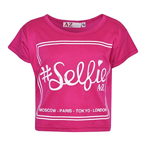 A2Z 4 Kids Girls Top Kids #Selfie Print Stylish Fahsion Trendy T Shirt Crop Top New Age 7 8 9 10 11 12 13 Years Pink from A2Z 4 Kids