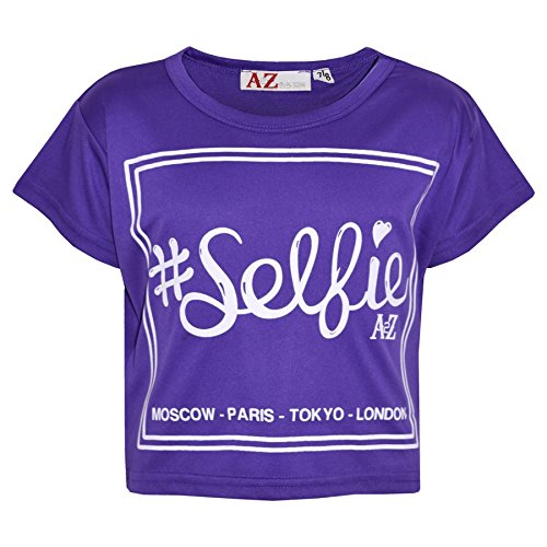 A2Z 4 Kids Girls Top Kids #Selfie Print Stylish Fahsion Trendy T Shirt Crop Top New Age 7 8 9 10 11 12 13 Years Purple from A2Z 4 Kids