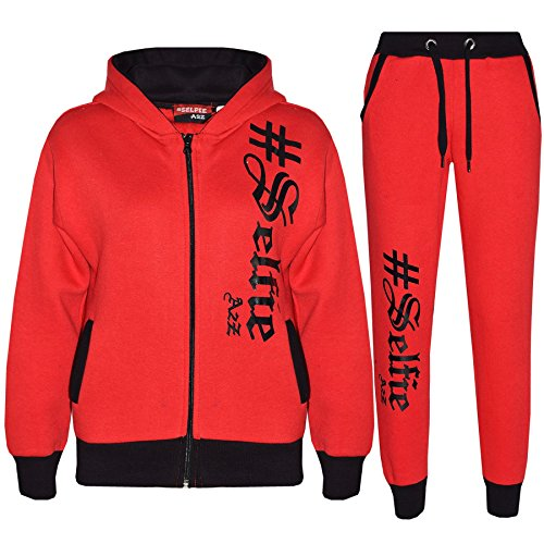 A2Z 4 Kids Kids Tracksuit Boys Girls Designer's #Selfie 002 - Red - 9-10 Years from A2Z 4 Kids