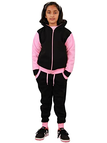 A2Z 4 Kids® Kids Tracksuit Girls Boys Designer's Plain Contrast - Plain 101 - Baby Pink - 11-12 Years from A2Z 4 Kids®