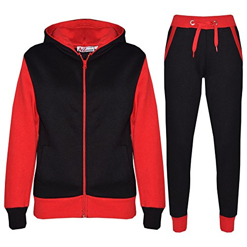 A2Z 4 Kids® Kids Tracksuit Girls Boys Designer's Plain Contrast - Plain 101 - Red - 13 Years from A2Z 4 Kids®