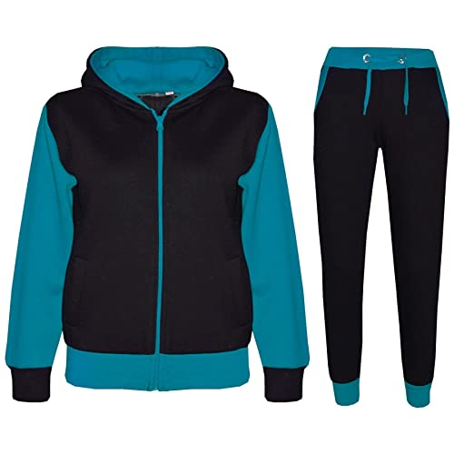 A2Z 4 Kids® Kids Tracksuit Girls Boys Designer's Plain Contrast - Plain 101 - Turquoise - 9-10 Years from A2Z 4 Kids®