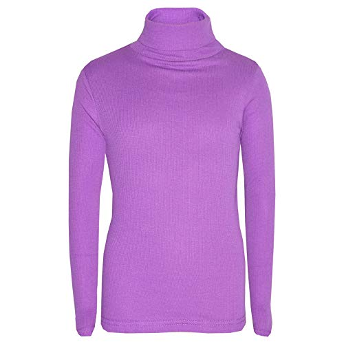 Kids Girls Polo Neck T Shirt Ribbed Cotton Polo ROLL Neck Jumper Long Sleeve TOP Age 2-13 YAERS (9-10 Years, Lilac) from A2Z 4 Kids