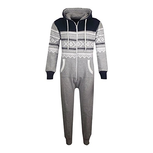 Unisex Kids Aztec Snowflake Hooded Onesie - Grey & Navy - 9-10 Years from A2Z 4 Kids