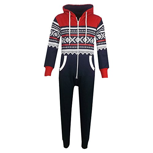 Unisex Kids Aztec Snowflake Hooded Onesie - Navy & Red - 11-12 Years from A2Z 4 Kids®