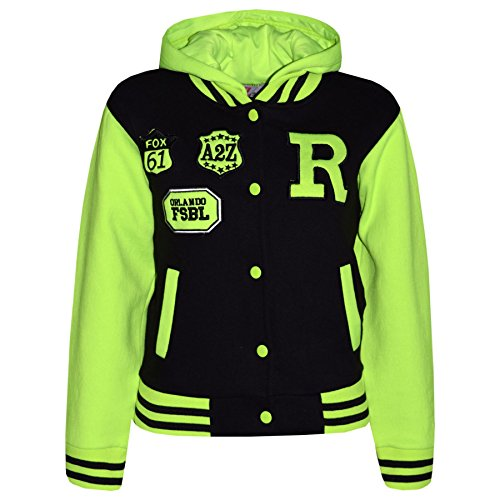 Unisex Kids Baseball R Fashion Hooded Jacket 2 3 4 5 6 7 8 9 10 11 12 13 Years (13 Years, Black & Neon Green) from A2Z 4 Kids