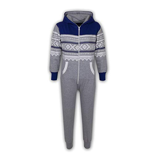 Unisex Kids Girls Boys Aztec Snowflake Hooded Onesie All in One 7 8 9 10 11 12 13 Years (11-12 Years, Royal Blue & Grey) from A2Z 4 Kids®