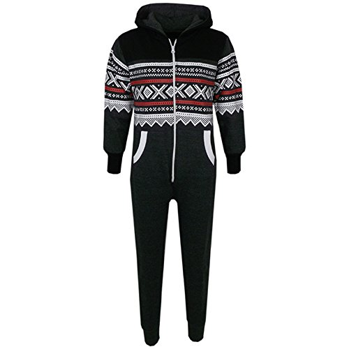Unisex Kids Girls Boys Aztec Snowflake Hooded Onesie All In One 7 8 9 10 11 12 13 Years (13 Years, Black & Charcoal) from A2Z 4 Kids®
