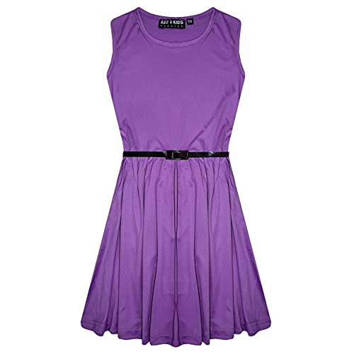 Girls Skater Dress Kids Party Dresses with Free Belt New Age 5 6 7 8 9 10 11 12 13 Years Lilac from A2Z 4 Kids