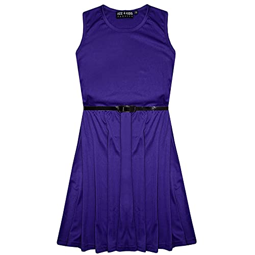 Girls Skater Dress Kids Party Dresses with Free Belt New Age 5 6 7 8 9 10 11 12 13 Years Purple from A2Z 4 Kids
