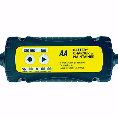 AA Battery Charger & Maintainer, For 6V & 12V Lead Acid and Gel Batteries - Black/Yellow from AA