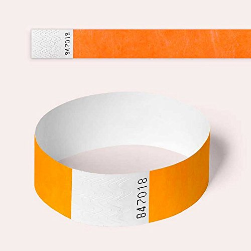 Neon Orange Tyvek Wristbands, Plain, 100 Pack, Paper Like For Parties, Security, Festivals and Events from AA