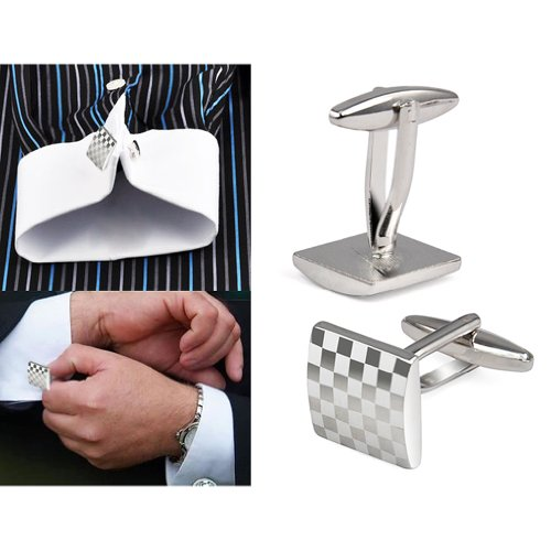 KINGQ Mens Silver Square Checkerboard Cufflinks from KINGQ