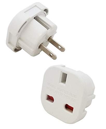 High Grade - Travel Plug Adapter - From UK Plug to 2 pin (Flat) Plug - Works in Maldives - AAA Products from AAA Products