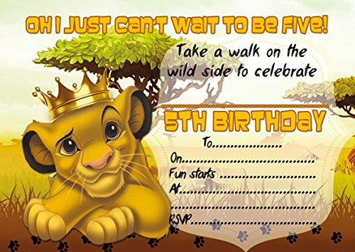 10 x Lion King Children Birthday Party Invitation with white envelopes (5 Years) from ABV Designs