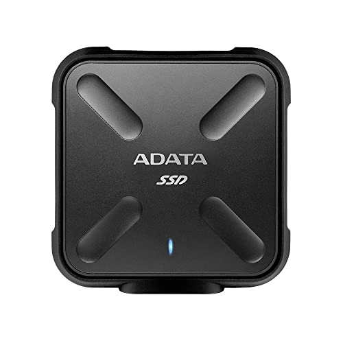 ADATA SD700 512GB Durable External 3D NAND Solid State Drive, IP68 Dustproof Waterproof, Military-Grade Shockproof, Up to 440MB/s Read and Write, Black (ASD700-512GU3-CBK) from ADATA