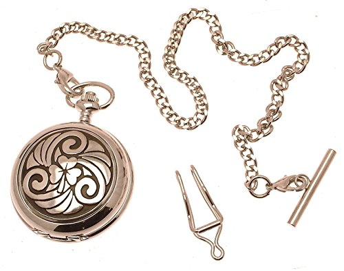 Engraving included - Solid Pewter fronted quartz pocket watch - Celtic Shamrock design from AEW