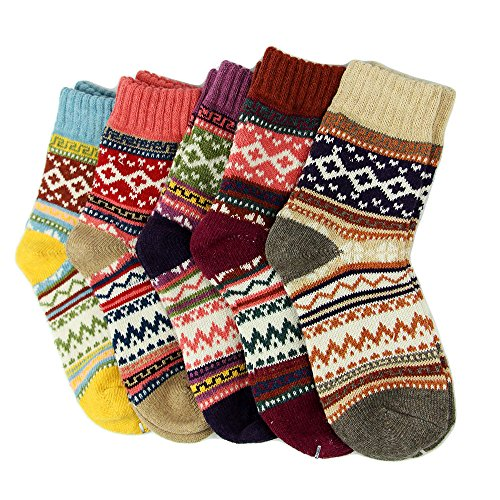 5 Pairs Women Ladies Thick Winter Socks Warm Wool Nordic Novelty Sock UK from AHG