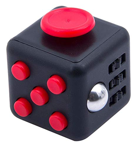 Cool Fidget Cube Vinyl Desk Toy Children Desk Toy Adults Stress Relief Cubes (Red/Black) from AIBULO