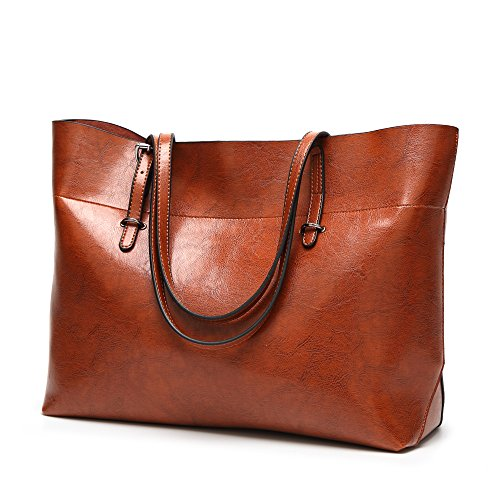 Womens Soft Leather Handbags Large Capacity Retro Vintage Top-Handle Casual Tote Shoulder Bags Brown from AILEESE