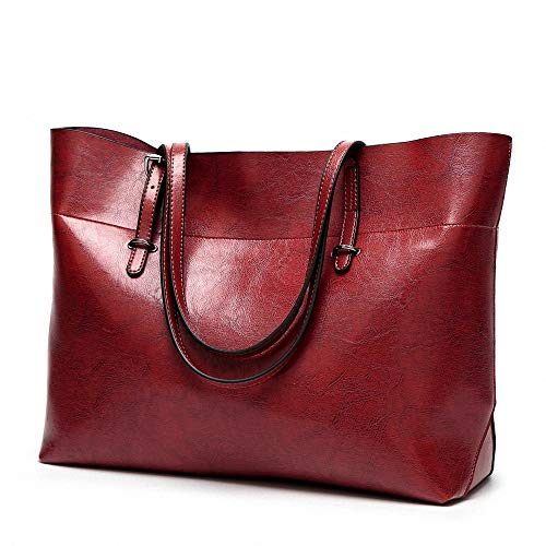 Womens Soft Leather Handbags Large Capacity Retro Vintage Top-Handle Casual Tote Shoulder Bags Red from AILEESE