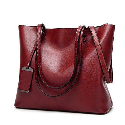 Womens Soft Leather Handbags Large Capacity Retro Vintage Top-Handle Casual Tote Shoulder Bags Wine from AILEESE