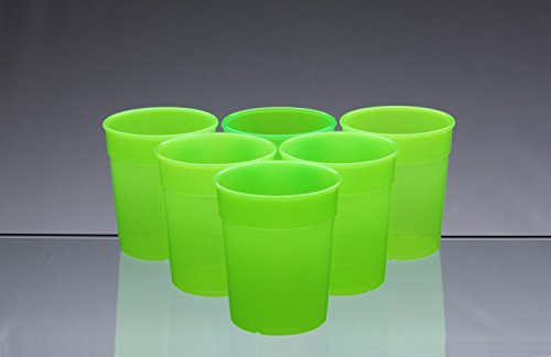 8c862f4d95a9 Dishwasher Safe Stackable Neon Green Plastic Cups   Beakers   Tumblers  250ml (set of 6