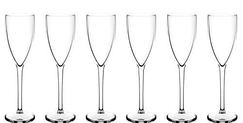 e8b3bd045566 Set of 6 Premium Champagne Flute (Polycarbonate) looks like real glass but unbreakable  plastic