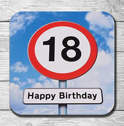 18th Birthday Road Sign Gift Wooden Drinks Coaster/Mat from AK Giftshop