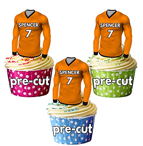 AK Giftshop PRECUT Personalised Edible Football Shirts With Your Chosen NAME & NUMBER - Cupcake Toppers/Cake Decorations Wolverhampton Colours (Pack of 12) from AK Giftshop