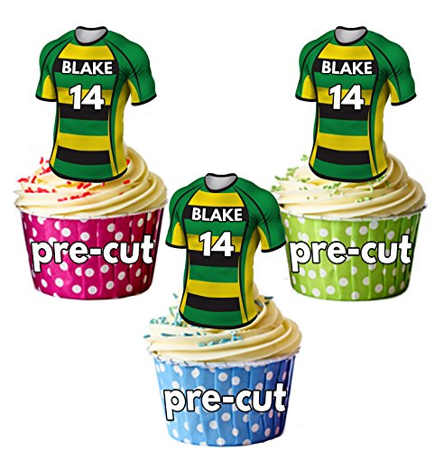 AK Giftshop PRECUT Personalised Rugby Shirts With Your Chosen NAME & NUMBER - Edible Cupcake Toppers/Cake Decorations Northampton Saints Colours (Pack of 12) from AK Giftshop