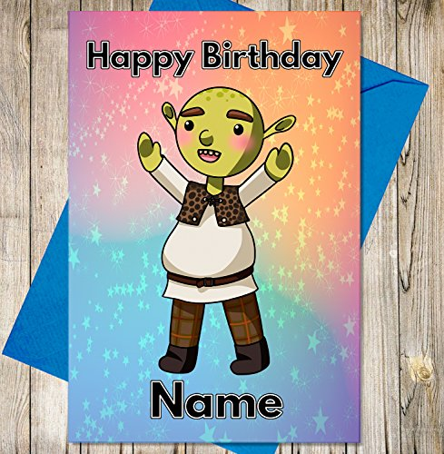 Cartoon Ogre Personalised Birthday Card - Any Name and Age Printed on The Front from AK Giftshop