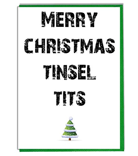 AK Giftshop Funny/Rude Joke Christmas Card - Merry Christmas Tinsel Tits from AK Giftshop