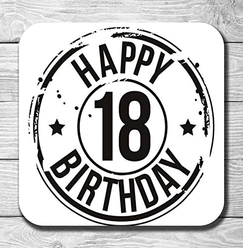Happy 18th Birthday Gift Wooden Drinks Coaster/Mat from AK Giftshop