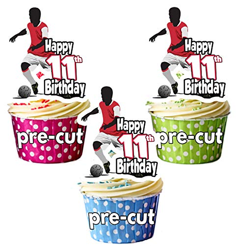 PRECUT Football Silhouette - 11th Birthday - Edible Cupcake Toppers/Cake Decorations (Pack of 12) from AK Giftshop