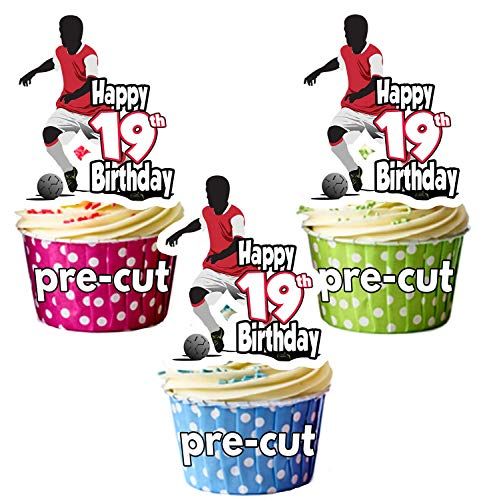 PRECUT Football Silhouette - 19th Birthday - Edible Cupcake Toppers/Cake Decorations (Pack of 12) from AK Giftshop